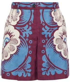 Valentino Pleated Floral-Print Silk-Twill Shorts