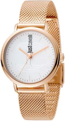 Just Cavalli 34mm CFC Mesh Bracelet Watch, Rose Golden