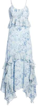 AMUR Ruffled Floral Print Silk Maxi Dress