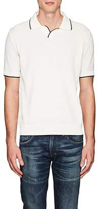 Barneys New York MEN'S CONTRAST-TIPPED COTTON POLO SHIRT - WHITE SIZE XXL