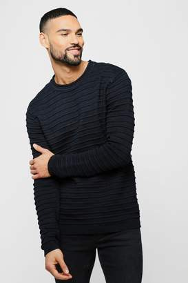 Roll Neck Jumper With Rib Detail