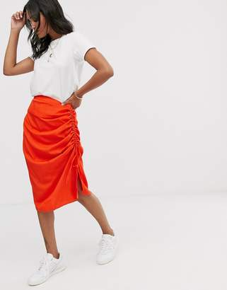 Vero Moda neon gathered side bias cut midi skirt
