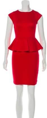 Alice + Olivia Knit Peplum Mini Dress Red Knit Peplum Mini Dress