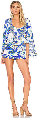 Camilla Cape Playsuit in Blue $500 thestylecure.com