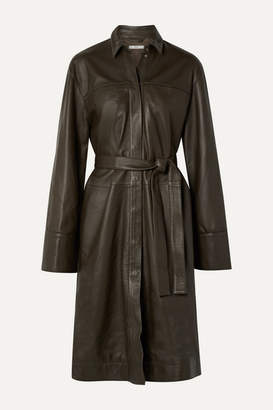 Co Belted Leather Coat - Army green