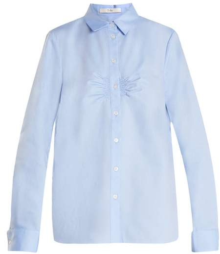 Tibi Ruched-front cotton-oxford shirt
