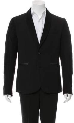 Rogue Leather-Trimmed Wool Blazer