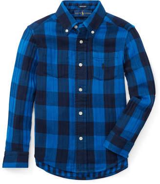 Ralph Lauren Childrenswear Twill Double-Face Reversible Shirt, Size 5-7