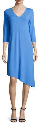 Eileen Fisher 3/4-Sleeve Asymmetric Jersey Dress $198 thestylecure.com