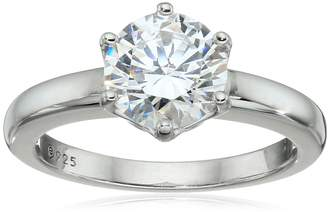 Swarovski Amazon Collection Platinum Plated Sterling Silver Solitaire Ring set with Round Zirconia (2 cttw), Size 6