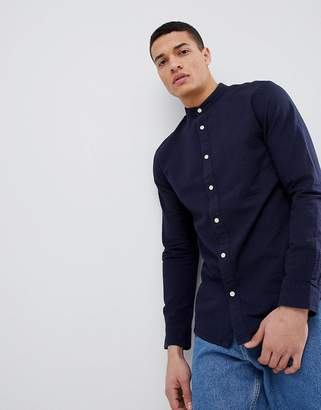 Selected Seersucker Shirt With Grandad Collar