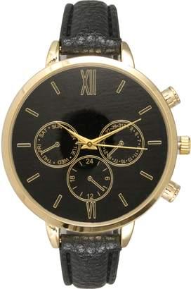 Olivia Pratt Women's Leather Band Stainless Steel Watch