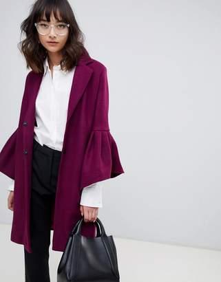 UNIQUE21 Unique 21 ruffle sleeve coat