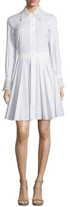 Michael Kors Crystal-Eyelet Trim Long-Sleeve Shirtdress, Optic White $2,495 thestylecure.com