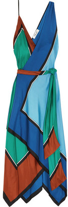 Diane von Furstenberg - Asymmetric Printed Silk Maxi Dress - Blue $600 thestylecure.com