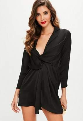 Missguided Petite Black Satin Plunge Dress