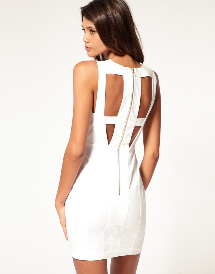 Asos Cut Out Body-Conscious Dress with Mesh Insert