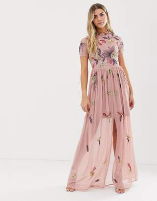Frock and Frill floral embellished maxi dress in dusky rose
