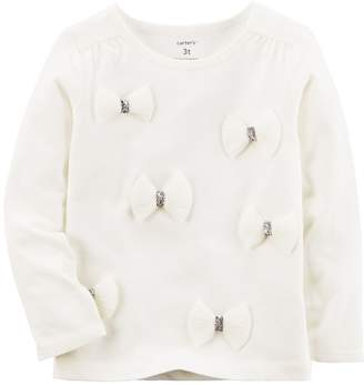 Carter's Girls 4-8 White 3D Bow Knit Top