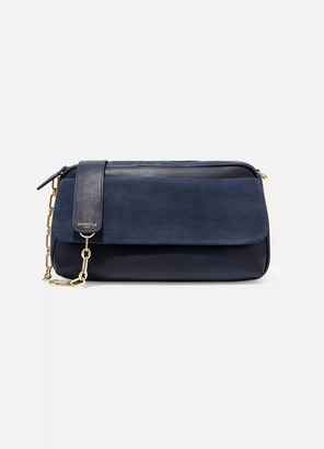 ZOOBEETLE Paris - Panthéon Color-block Leather And Suede Shoulder Bag - Storm blue