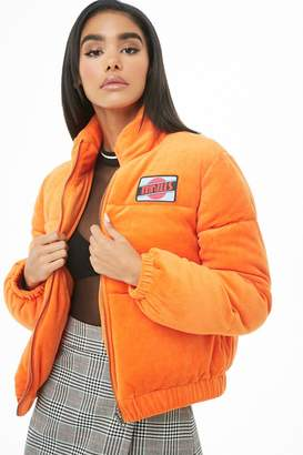 Forever 21 Thrills Patch Velour Puffer Jacket