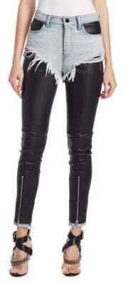 Alexander Wang Leather& Denim Hybrid Pants