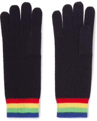 Madeleine Thompson Elba Striped Cashmere Gloves - Midnight blue
