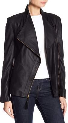 Via Spiga Leather Swing Asymmetrical Zip Jacket