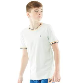 Original Penguin Junior Boys Pique T-Shirt With Contrast Detail Pastel Blue