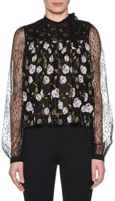 Giambattista Valli High-Neck Long-Sleeve Floral-Print Lace Swing Blouse