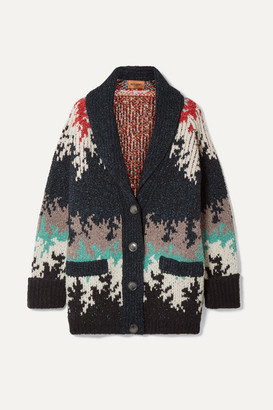 Missoni Intarsia Knitted Cardigan - Navy