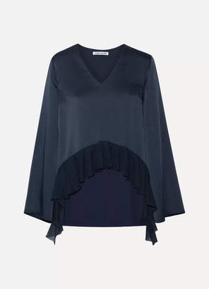 Elizabeth and James - Heath Ribbed Knit-trimmed Satin-crepe Blouse - Midnight blue $345 thestylecure.com