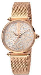 Just Cavalli 32mm Animal Glitter Watch w/ Mesh Strap, Rose Gold