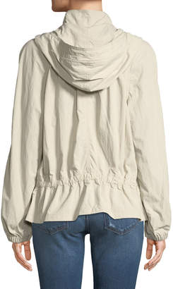 Donna Karan Hooded Zip-Front Peplum Jacket