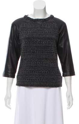 Gryphon Leather-Accented Knit Top