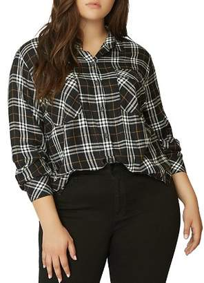 Sanctuary Curve Boyfriend For Life Rebel Plaid Button-Down Top