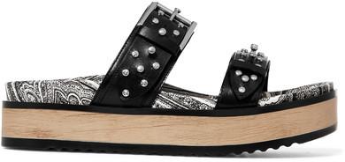 Alexander McQueenAlexander McQueen - Studded Leather Platform Slides - Black