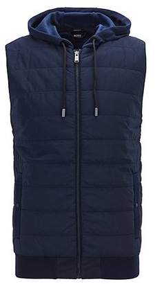 HUGO BOSS Zip-through gilet with hood and padded front panel