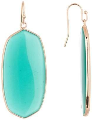Panacea Green Stone Linear Oval Earrings