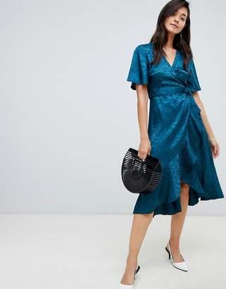 Y.A.S Satin Floral Jacquard Floral Wrap Dress
