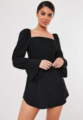 Missguided Black Corset Bodice Milkmaid Dress