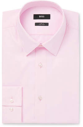 HUGO BOSS Light-Pink Isko Cotton-Poplin Shirt