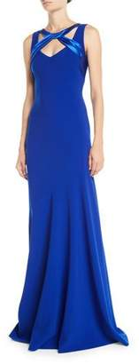 Theia Sleeveless Crepe Gown w/ Satin Crisscross