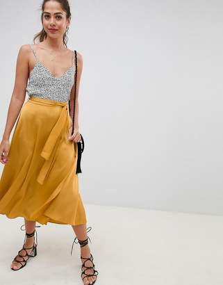 Asos DESIGN satin midi skirt with self belt