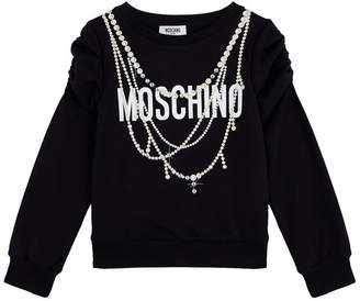 Moschino Logo Sweater with Necklace Embellishments