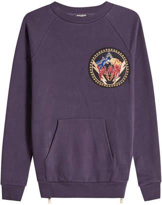 Balmain Cotton Sweatshirt with Stud Embellishment and Zippers