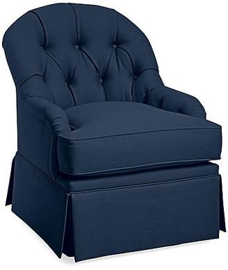 One Kings Lane Marlowe Swivel Club Chair - Navy Linen