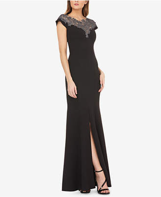 JS Collections Lace-Neck Stretch-Crepe Gown