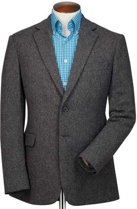 Charles Tyrwhitt Slim Fit Charcoal Herringbone Wool Wool Jacket Size 40