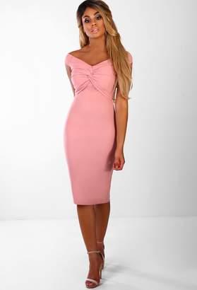 d7396b6e0d Pink Boutique Hit The Lights Rose Pink Knot Front Bardot Midi Dress